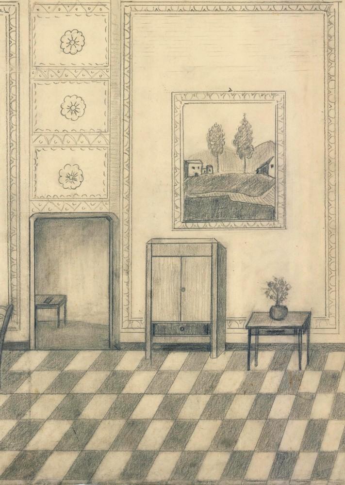 Interno di casa disegno originale matita su carta 1900 ebay for Disegno interno casa