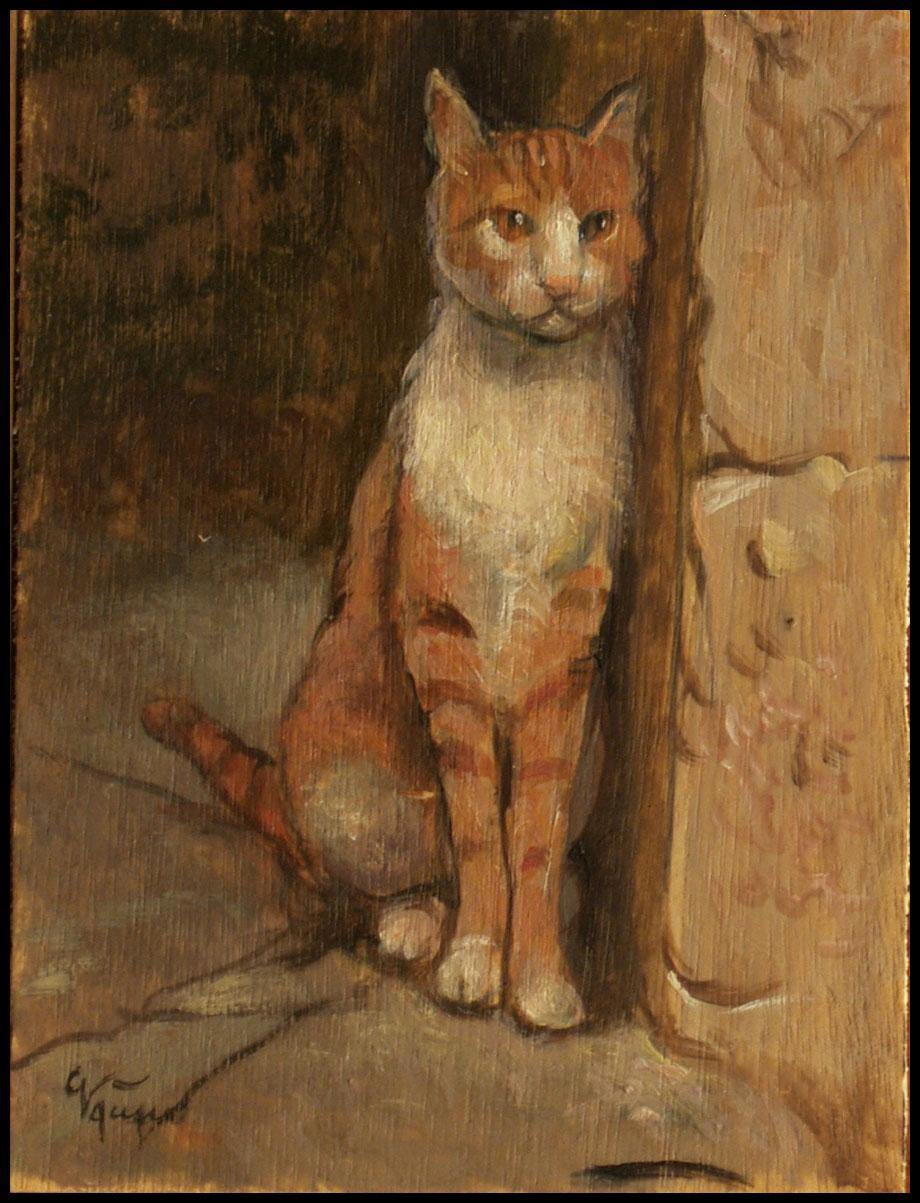 Gatto bianco e rosso dipinto originale a olio giacomo - Olio di ruta repellente gatti ...