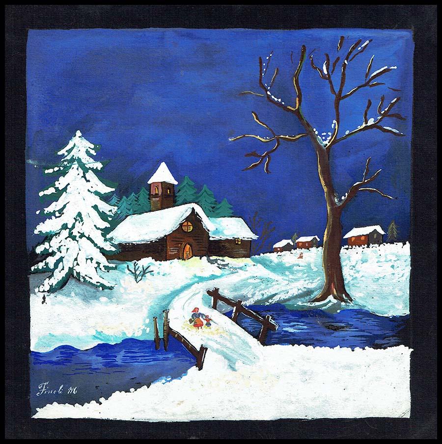 Paesaggio invernale con neve disegno originale a tempera for Paesaggio invernale disegno